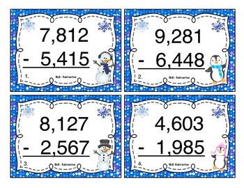 Winter Subtraction (4 Digits) Task Cards