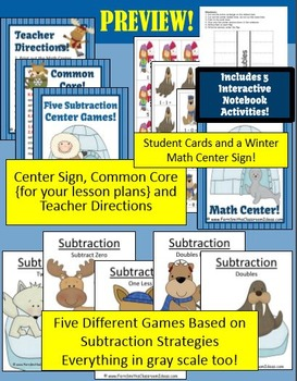 Winter Subtraction Centers and Interactive Notebook Activities