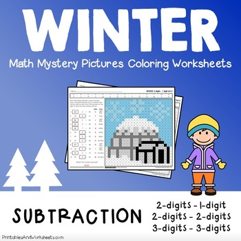 Winter Subtraction Coloring Worksheets