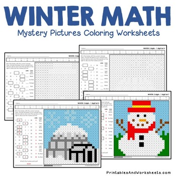 Winter Math Subtraction, Winter Subtraction Mystery Pictures Coloring Worksheets