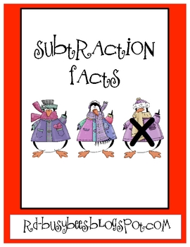 Winter Subtraction Facts with Pictures