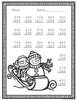 Free Three Digit Subtraction With Regrouping  Winter Theme 3.NBT.2