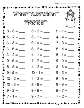 Winter Subtraction Practice Pack!--3 levels