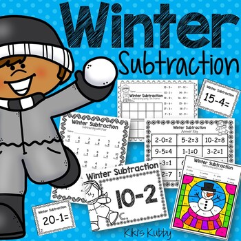 Winter Subtraction Practice: Subtraction Worksheets, Task Cards, Write the Room