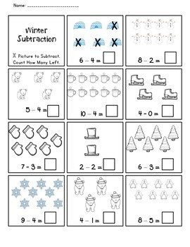 Winter Subtraction Practice Worksheet *Freebie*