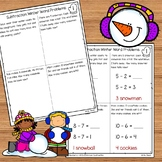Winter Subtraction Word Problems Numbers 1 - 10 for Kindergarten and 1st Grade