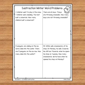 Winter Subtraction Word Problems Numbers 1 - 20 for Kindergarten and 1st  Grade