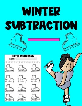 Winter Subtraction Worksheet with Number Line