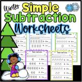 Simple Winter Subtraction Worksheets Kindergarten Numbers 0-5