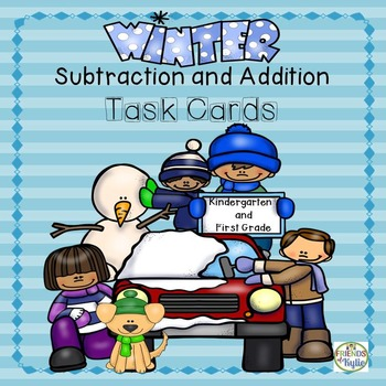 Winter Subtraction and Addition Task Cards