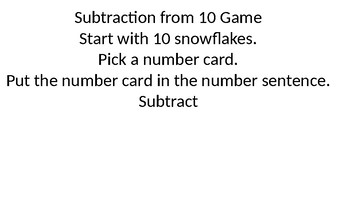 Winter Subtraction from 10 game
