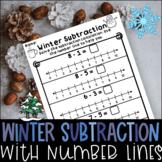 Number Line Subtraction Winter No Prep Worksheets Kindergarten 1st Grade