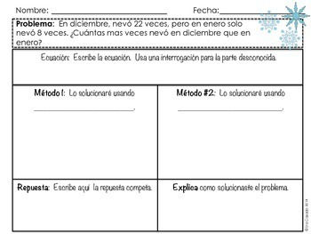 Winter Subtraction within 100 word problems (2nd grade math) Spanish version