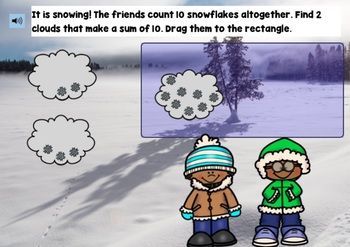 Making 10 Winter Game BOOM CARDS | Kindergarten Math | First Grade Math