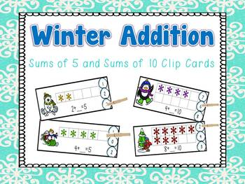 Winter Sums of 5 and 10 Clip Cards