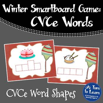 Winter CVCe/Super E Word Shapes Game for Smartboard or Pro
