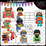 Winter Superhero Kids - Clip Art & B&W Set