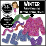 Winter Sweater, Furry Scarfs, Mittens, Boots Clip Art, Win