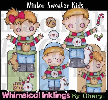 Winter Sweater Kids Clipart Collection