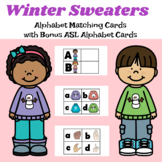 Winter Sweaters Alphabet Matching Cards with ASL Cards