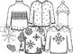 Winter Sweaters Digital Clip Art Set- Black Line Version