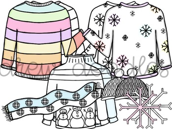 Winter Sweaters Digital Clip Art Set- Color and Black Line COMBO