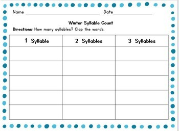 Winter Syllable Count: Grades 1-2
