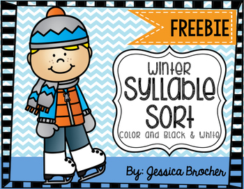 Winter Syllable FREEBIE! {Literacy Station in COLOR and BLACK & WHITE}