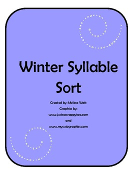 Winter Syllable Sort Literacy Center