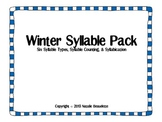 Winter Syllable Sorting Pack : Syllable Counting, Syllabication, Syllable Sort
