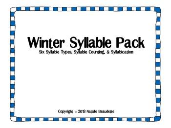 Winter Syllable Sorting Pack : Syllable Counting, Syllabic