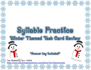 Winter Syllable Task Cards