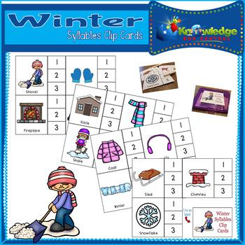Winter Syllables Clip Cards