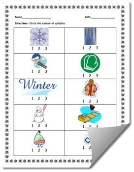 Winter-Themed Syllables Count Worksheet