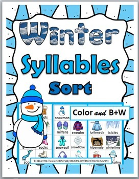 Syllables Sort - Winter Literacy