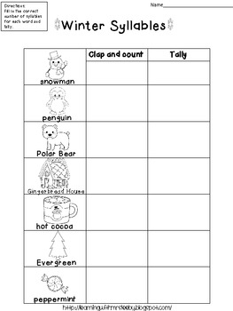 Winter Syllables and Tally Freebie