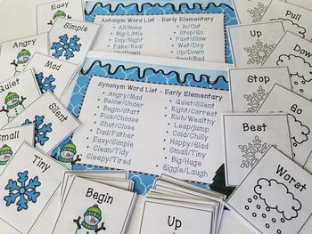 Winter Synonym & Antonym Cards for Early & Later Elementary - Full Color + B&W