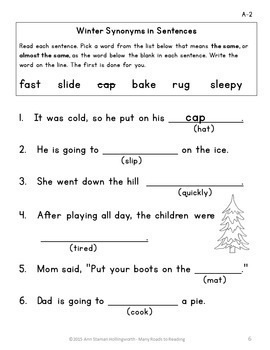 Winter Synonyms: Grades 1-2
