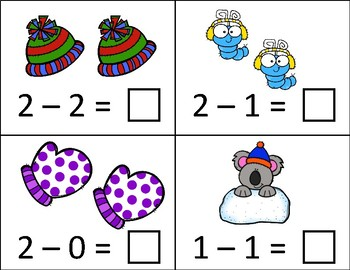 Winter -  Take away from 5 or less Subtraction Dry Erase Cards