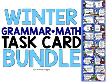Winter Task Card BUNDLE (Math+Grammar)