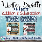 Winter Task Card Bundle: Addition & Subtraction Regrouping