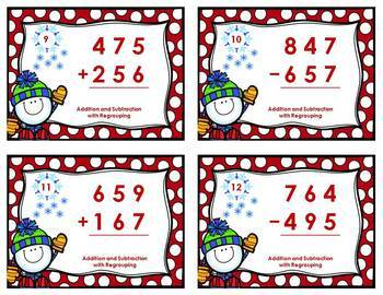Winter Task Card Bundle - Addition & Subtraction with and without Regrouping