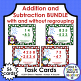 Task Card • Addition & Subtraction with & without Regrouping • Winter Bundle