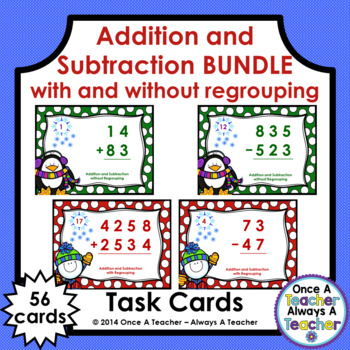 Winter Task Card Bundle - Addition & Subtraction with and