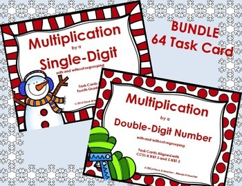 Winter Task Card Bundle - Multiplication by Single and Double-Digit Numbers