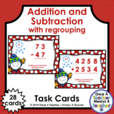 Task Cards • Addition & Subtraction with Regrouping • Winter