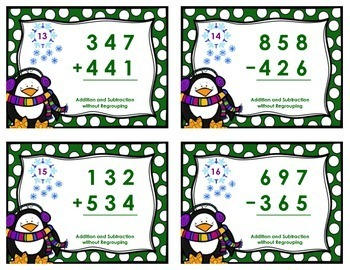 Winter Task Cards - Addition & Subtraction without Regrouping