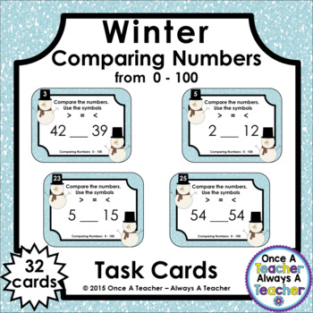 Comparing Numbers 0 - 100 • Winter Task Cards