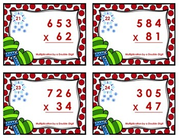 Winter Task Cards - Multiplication by a Double-Digit without and with Regrouping