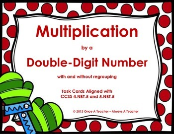 Winter Task Cards - Multiplication by a Double-Digit witho